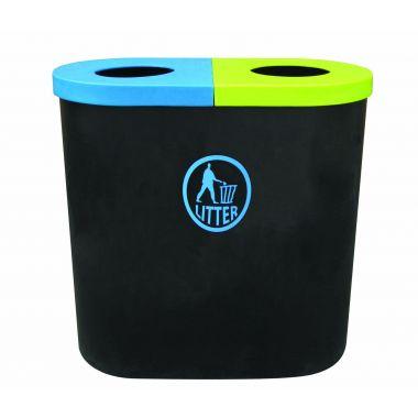 140 Litre Popular Twin Litter Bin - Tidy Logo