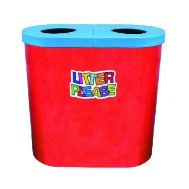 140 Litre Popular Twin Litter Bin - Litter Please Logo