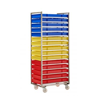 Colour Coded Confectionery Trays in Bakery Trolley
