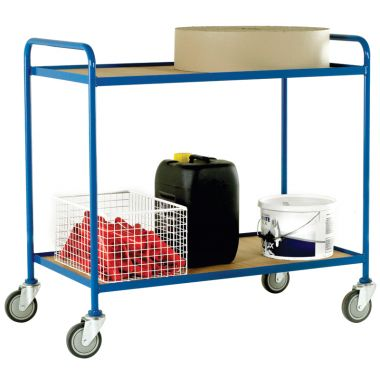 Two Tier Tray Trolley - Plywood Shelves (Large)