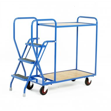 Three Step Tray Trolley - Two Timber Shelves