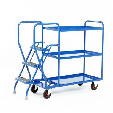 Three Step Tray Trolley - Three Steel Shelves