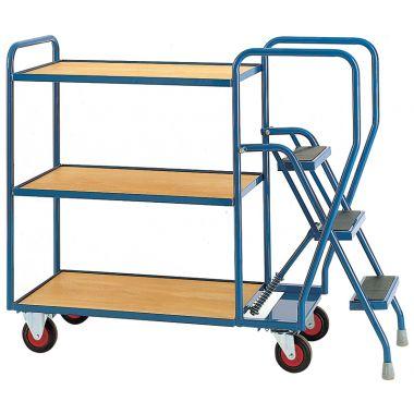 Three Step Tray Trolley - Three Timber Shelves