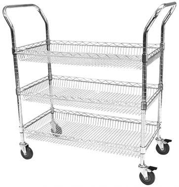 Chrome Wire Basket Trolley - Three Tier