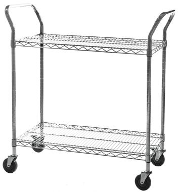 Chrome Wire Trolley - Two Tier (Large)