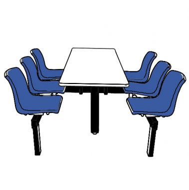 Canteen Table - Six Chairs (Single Access)