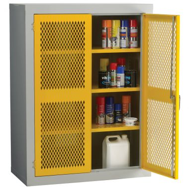 Double Door Industrial Mesh Cupboard - Medium