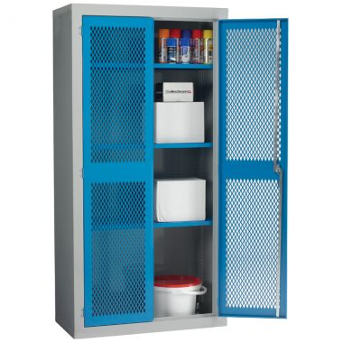 Double Door Industrial Mesh Cupboard - Large