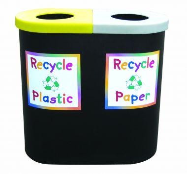 Twin Recycling Bin - Junior Style (Open Top)