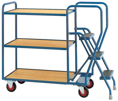 Three Step Tray Trolley - Three Timber Shelves