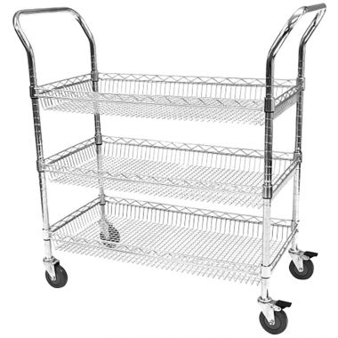 Chrome Wire Basket Trolley - Three Tier