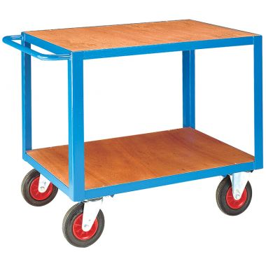 Heavy Duty Table Trolley - Two Tier - Timber Top (Large) - TT220T