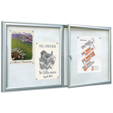 Double Door Display Case - Silver Anodised