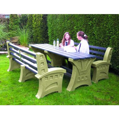 Plastic Table & Seat Set - Six Seater