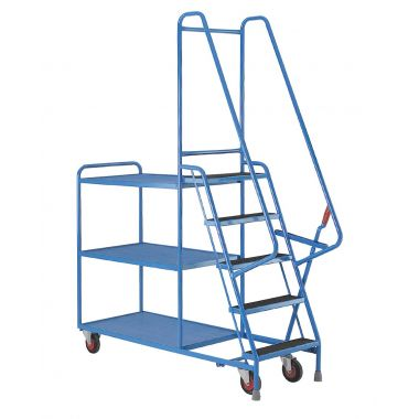 Step Tray Trolley - Five Steps - Steel Shelves - S190