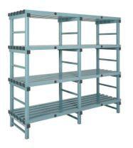 Hygienic Static Plastic Shelving - Four Shelves - 1000W x 500D x 1080H mm