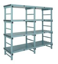 Hygienic Static Plastic Shelving - Four Shelves - 1000W x 500D x 1380H mm