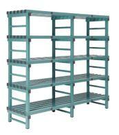 HYGIENIC STATIC PLASTIC SHELVING - FIVE SHELVES - 1000W x 400D x 1380H mm