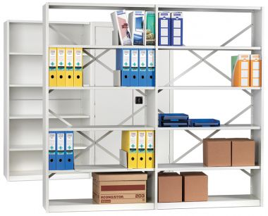 Office Shelving - Four Shelves Fully Clad