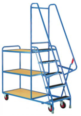 Five Step Tray Trolley - Three Timber Shelves