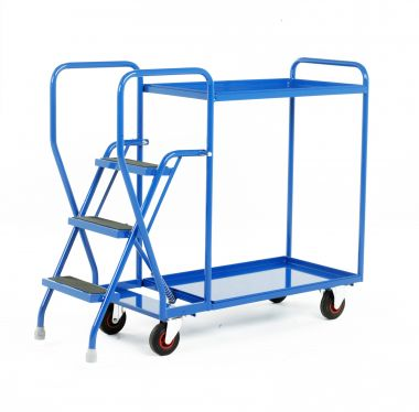 Step Tray Trolley - Three Steps - Steel Shelves - S188